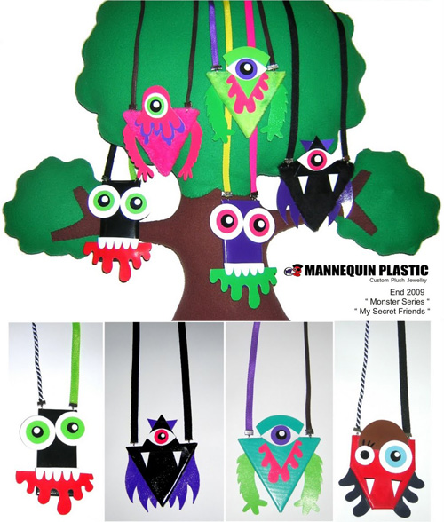 MP SCRT FRNDS MNSTR  Plush jewelry by Mannequin Plastic