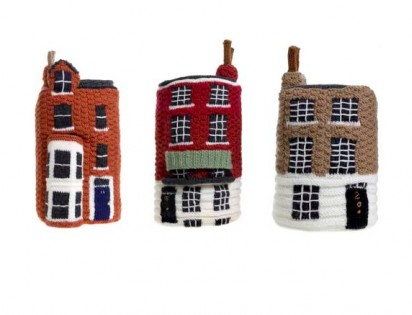Knitted crime homes by Freddy Robins