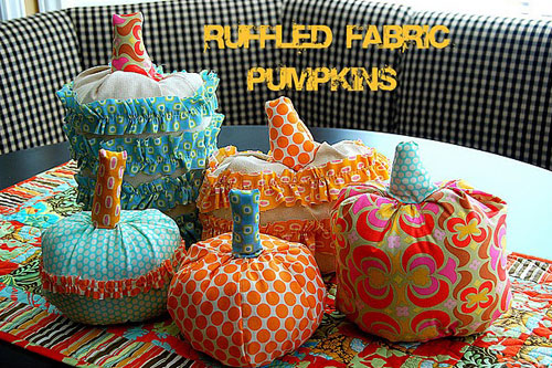 fabric pumpkins by tatertotsandjello  15 ideas and tutorials for your crafty pumpkins