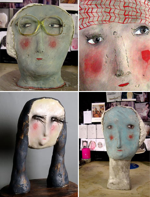 Claire Loder3  Ceramic heads by Claire Loder