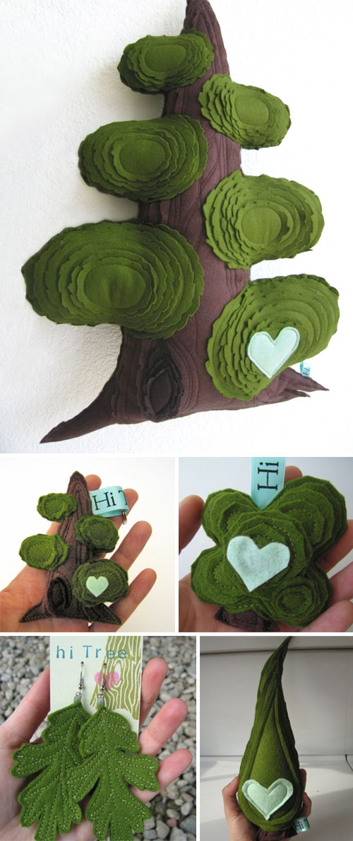 tile3  Hi Tree, handmade green love
