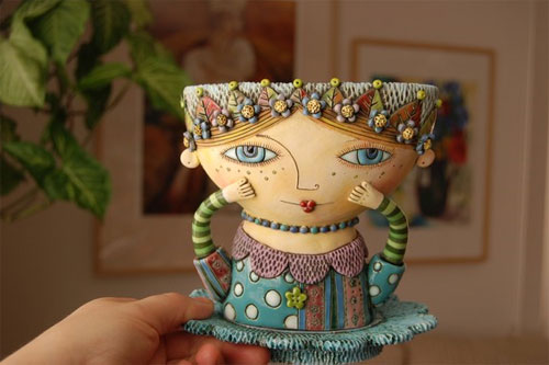 Sunshine Girl teacup by Natalya Sots  Natalya Sots: a world of ceramics and colors