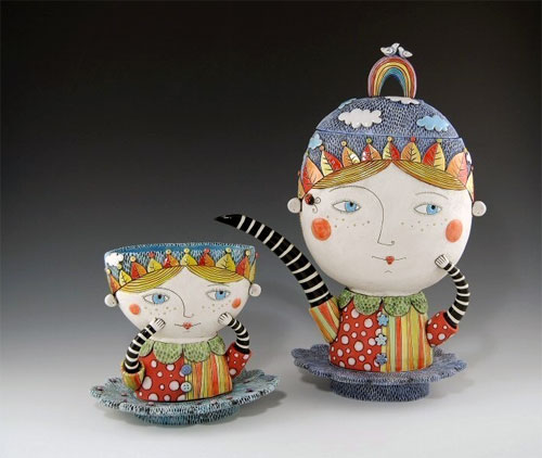 Tea set by Natalya Sots  Natalya Sots: a world of ceramics and colors