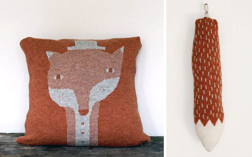 Fox knitted pillow and tail by Colette Bream  Knitted pillows etcetera by Colette Bream