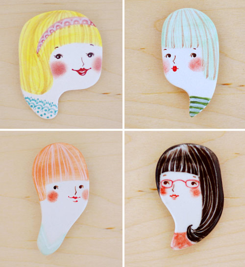Minini handmade porcelain brooches 2 by Min Lee  Porcelain head brooches by Min Lee