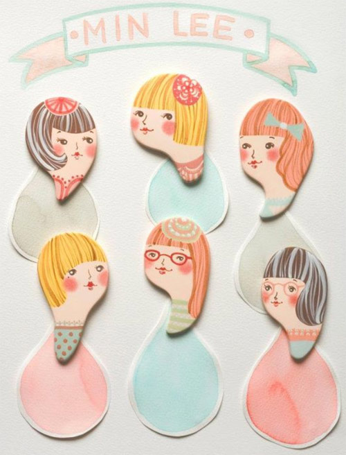 Minini handmade porcelain brooches by Min Lee  Porcelain head brooches by Min Lee