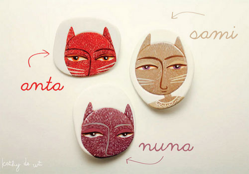 A little family of handmade brooches by eldibujodelgato  IB Flickr Group picks: Loving handmade characters!