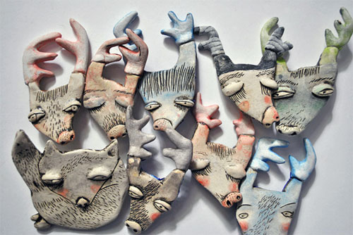 Animal brooches by Denitsa  Clay brooches and Denitsa's world