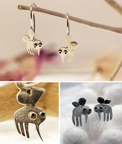Mini zoo earrings series by Giedre Koloksanskyte  Mini zoo silver earrings series by Giedre Koloksanskyte
