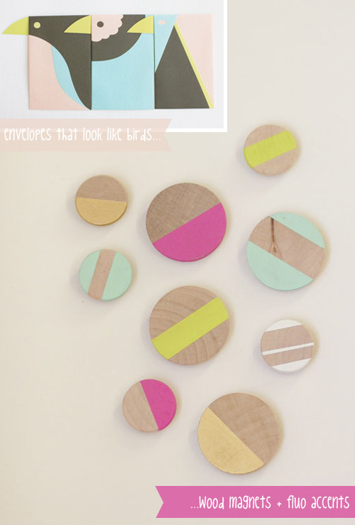 Birds envelopes and wood fluo magnets  Things that are inspiring me today