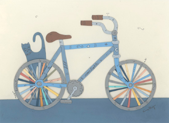 Dream bike papercut illustration by Timothy Karpinski  Illustrations and papercuts works by Timothy Karpinski
