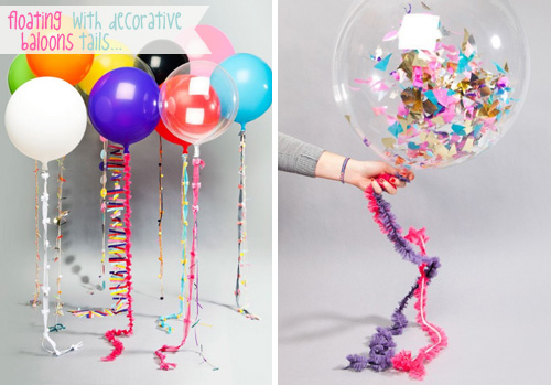 Floating baloons with decorative tails via beyondbeyond  Things that are inspiring me today