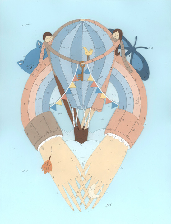 Hot air hearts papercut illustration by Timothy Karpinski  Illustrations and papercuts works by Timothy Karpinski
