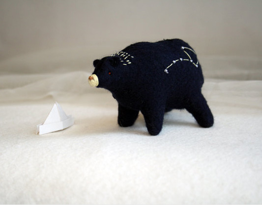Felt bear soft sculpture by Royalmint  Felt creations and curious animals by Royalmint