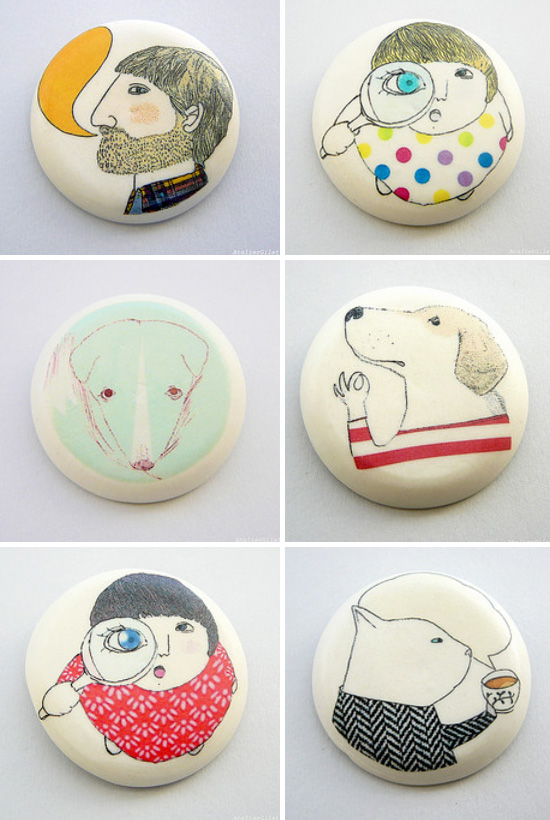 Porcelain brooches by Atelier Gilet  Porcelain by Atelier Gilet, between geometries and figures