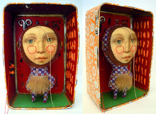 Visual artist Cecile Perra Handmade puppet in a box  Visual artist Cecile Perra