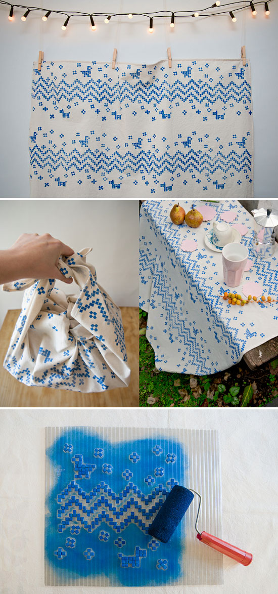 Hand printed fabric DIY tutorial by Karen Barbe  Emotions via textile design – Karen Barbé