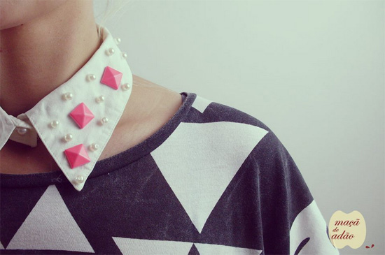 Handmade collar white and pink by Maca de Adao  Addictive fashionable handmade collars by Maçã de Adão