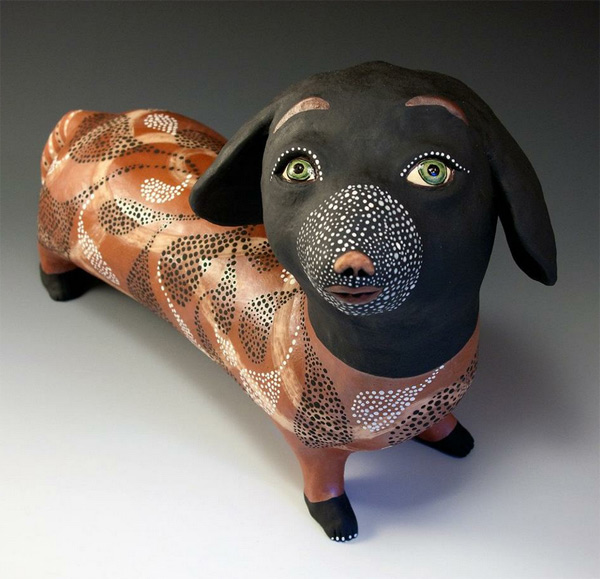 ceramic dog by Jenny Mendes  Endless creativity on Jenny Mendes's ceramics