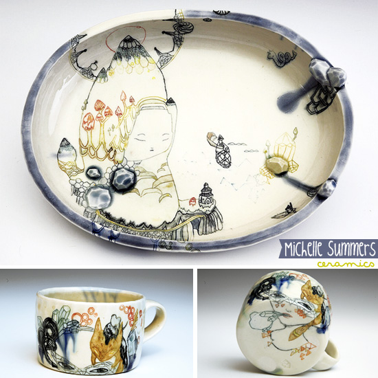 Ceramics by Michelle Summers  Hand painted OOAK ceramics by Michelle Summers