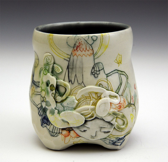 Handmade ceramic coffee cup by Michelle Summers Imaginative Bloom  Hand painted OOAK ceramics by Michelle Summers