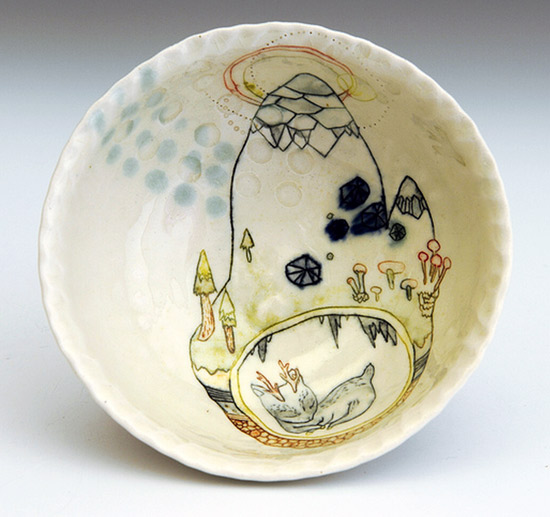 Handmade hand painted bowl by Michelle Summers Imaginative Bloom  Hand painted OOAK ceramics by Michelle Summers