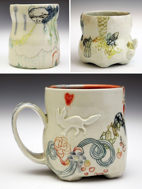 Handpainted ceramic mugs and cups by Michelle Summers Imaginative Bloom  Hand painted OOAK ceramics by Michelle Summers