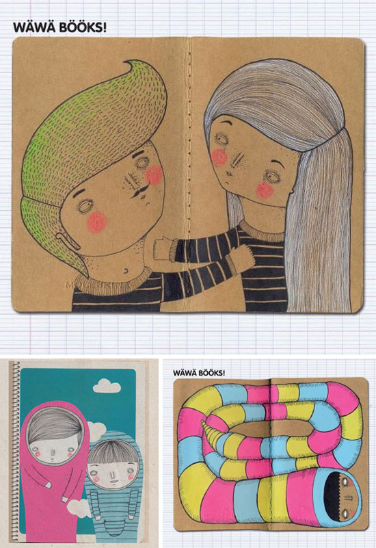 Wawa books Handmade notebooks  A splash of drawings by Wawa