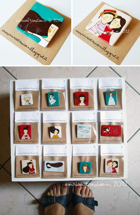 Handmade brooches by Enrica Trevisan  Hand painted by Enrica Trevisan