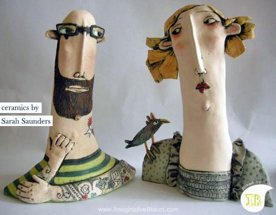 Sarah Saunders ceramics  Ceramic heads by Sarah Saunders