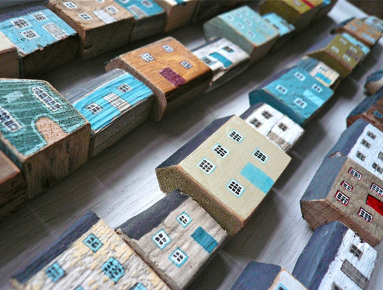 Wooden painted houses by Val riane Leblond  Painted wood with a hint of naif – Valériane Leblond