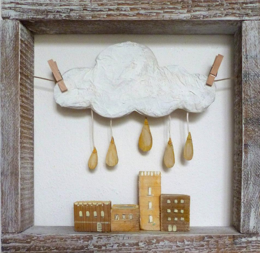 Angela Fattori A volte sogno 4  Wooden and paper dreams by Angela Fattori
