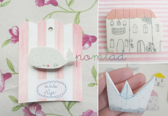 Illustrated handmade brooches by De ela Nije  Delicate handmade by Dežela Nije