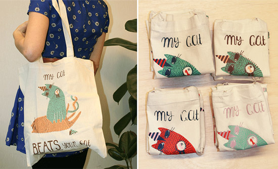 Illustrated tote bags by La Nonette Illustration  La Nonette Illustration by Manon Bijkerk