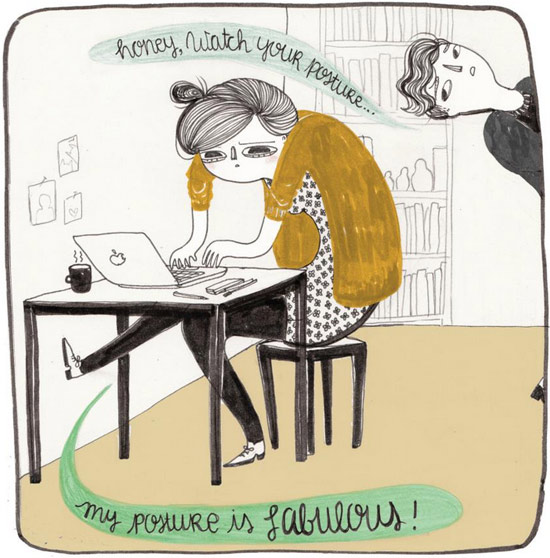 Watch your posture Illustration by La Nonette Illustration  La Nonette Illustration by Manon Bijkerk