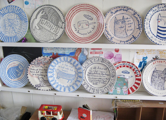 ceramic plates by vicky lindo  Vicky Lindo free-hand drawings on ceramics